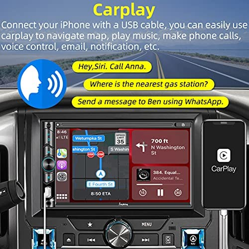 51hbyiQ+0NS. AC  - Advanced Double Din Carplay Car Stereo Kit with Voice Control, Mirror-Link Compatible with iOS & Android,Support Backup & Frontview Camera, Bluetooth 5.0, Steering Wheel, AM/FM Car Radio Receiver