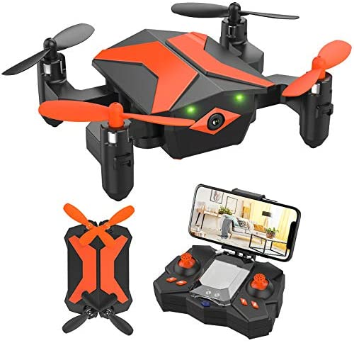 51igniByZmL. AC  - Mini Drone with Camera for KidsBeginners, Foldable Pocket RC Quadcopterwith App Gravity Voice Control Trajectory Flight, FPV Video, Altitude Hold, Headless Mode, 360°Flip, Toys Gifts for Boys Girls