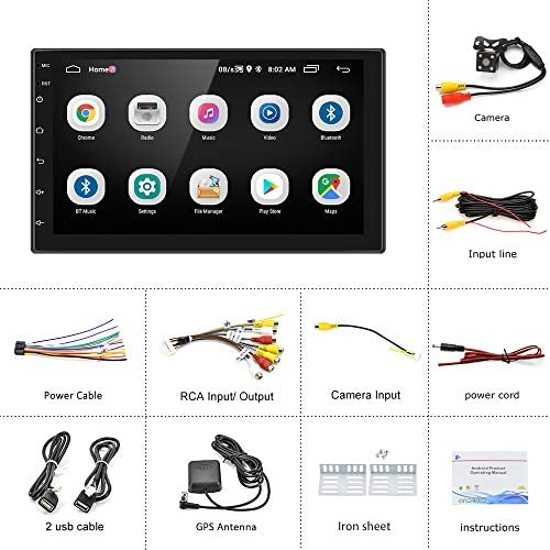 51l6cN5zBYL. AC  - Double Din Android Car Stereo with GPS 7 Inch Touch Screen Car Radio Bluetooth Supports Mirror Link for iOS/Android Phones WiFi Connect + Backup Camera