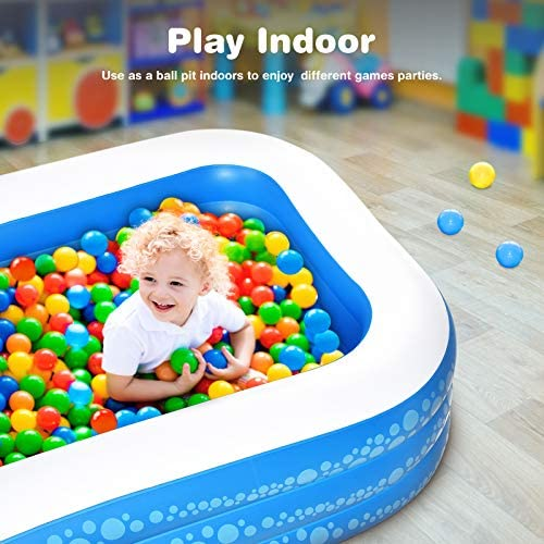 """51m8hpqJzpL. AC  - Inflatable Pool, Hesung 117"""" X 69""""X 21"""" Family Swimming Pool for Kids, Toddlers, Infant, Adult, Full-Sized Inflatable Blow Up Kiddie Pool for Ages 3+, Outdoor, Garden, Backyard, Summer Swim Center"""