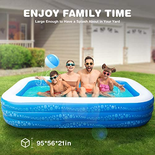 """51o3cQ7pgKL. AC  - Inflatable Pool, Hesung 117"""" X 69""""X 21"""" Family Swimming Pool for Kids, Toddlers, Infant, Adult, Full-Sized Inflatable Blow Up Kiddie Pool for Ages 3+, Outdoor, Garden, Backyard, Summer Swim Center"""