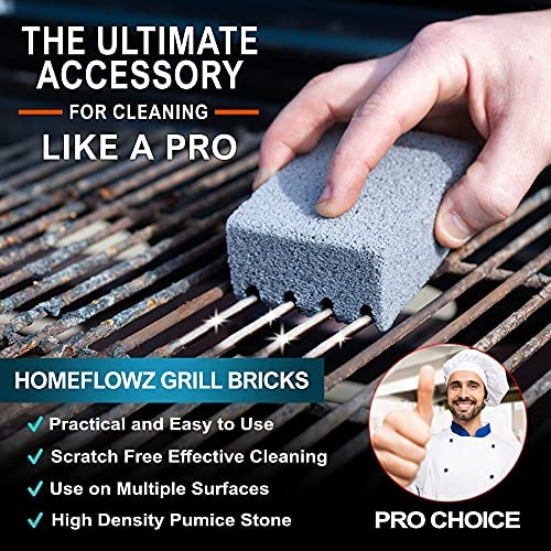 51p5NeMIwHS. AC  - Homeflowz Grill Brick 4 Pack - Grill Cleaning Bricks for BBQ - Refined Pumice Grill Stone - Griddle Brick for Safe Effective Non Abrasive Cleaning - Grill Brick for Flat Top Grills Grates Pool & More