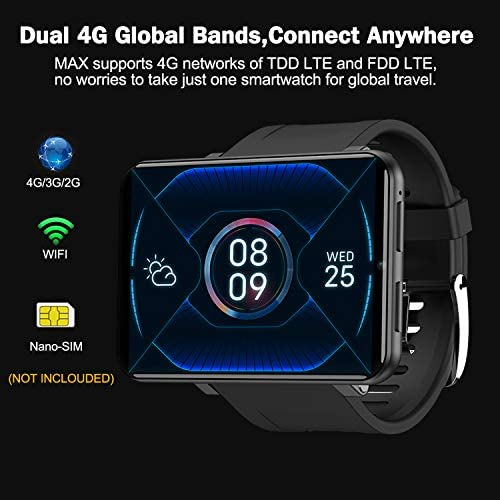 """51q+rL1r9xL. AC  - TICWRIS Andriod Smart Watch, GPS Android Smartwatch, 4G LTE with 2.86"""" Touch Screen, Face Unclok Phone Watch with 2880mAh Battery, IP67 Waterproof Sport Watch,3GB+32GB Andriod Watch for Men (Black)"""