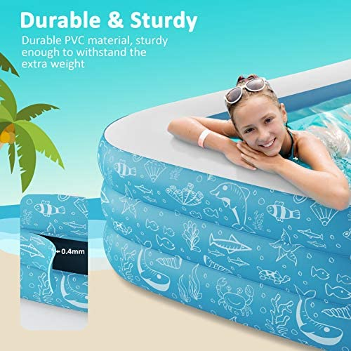 51sLzIyG4gL. AC  - PERLECARE Inflatable Pool, Swimming Pool for Kiddie, Kids, Adults, Toddlers, 95'' x 56'' x 22'' Backyard/Garden/Outdoor Pool, Rectangular Full-Sized Family Lounge Blow-up Pool for Summer Water Party