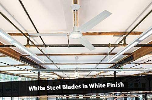 51saiBxEgJL. AC  - Ciata Lighting Industrial 56 Inch Three Blade Indoor Ceiling Fan, with Steel Blades in White Finish - 2 Pack
