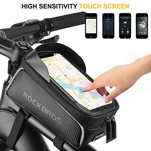 """51ttwhapFNL. AC  - ROCKBROS Top Tube Bike Bag Waterproof Bicycle Bag Touch Screen Bike Pouch Bike Cell Phone Holder Cycling Accessories for iPhone 12 11 7 8 Plus Xs Max Below 6.7"""""""