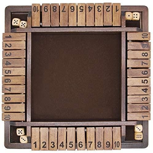 51v4xXMi4eL. AC  - Juegoal Wooden 4 Players Shut The Box Dice Game, Classics Tabletop Version and Pub Board Game, 12 inch
