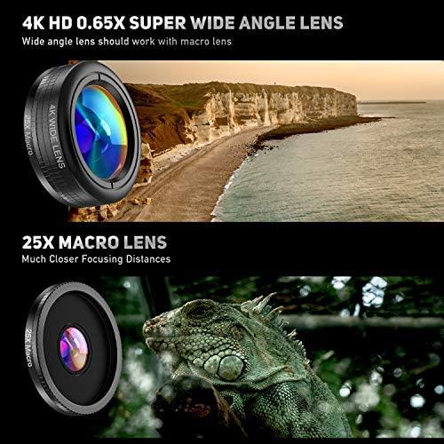 51vWOPfLP5L. AC  - LIERONT Phone Camera Lens for iPhone Samsung Huawei, 25X Telephoto Lens, 4K HD 0.65X Wide Angle Lens & 25X Macro Lens(Screwed Together), 210° Fisheye Lens, Kaleidoscope Lens (Not Pro Camera)