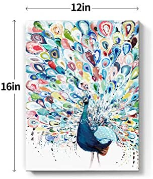 51yMSNasyJL. AC  - Mazjoaru Colorful Peacock Wall Art Canvas Painting Rainbow Bird Picture Animal Framed Print Modern Home Decor Bathroom Bedroom Living Room Ready to Hang Frameless12x16 inches