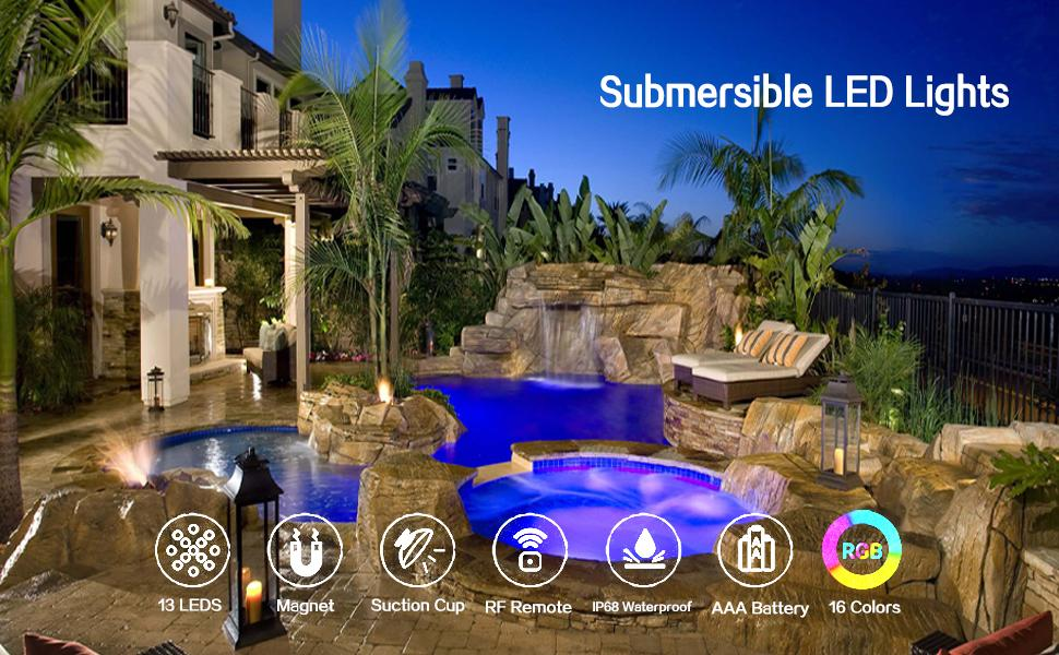 60173e8c 8dfa 486a ae54 58b3c2d2d34b.  CR0,0,970,600 PT0 SX970 V1    - Waterproof Submersible Led Pool Lights Underwater, 16 Colors Pond Lights with Remote, Suction Cups & Magnet, Halloween Decor Lamp for In-ground Pool Bathtub Fish Tank Christmas Decor Lights (4 Pack)