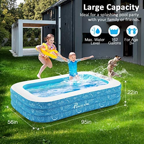 61uKB9LQ5VL. AC  - PERLECARE Inflatable Pool, Swimming Pool for Kiddie, Kids, Adults, Toddlers, 95'' x 56'' x 22'' Backyard/Garden/Outdoor Pool, Rectangular Full-Sized Family Lounge Blow-up Pool for Summer Water Party