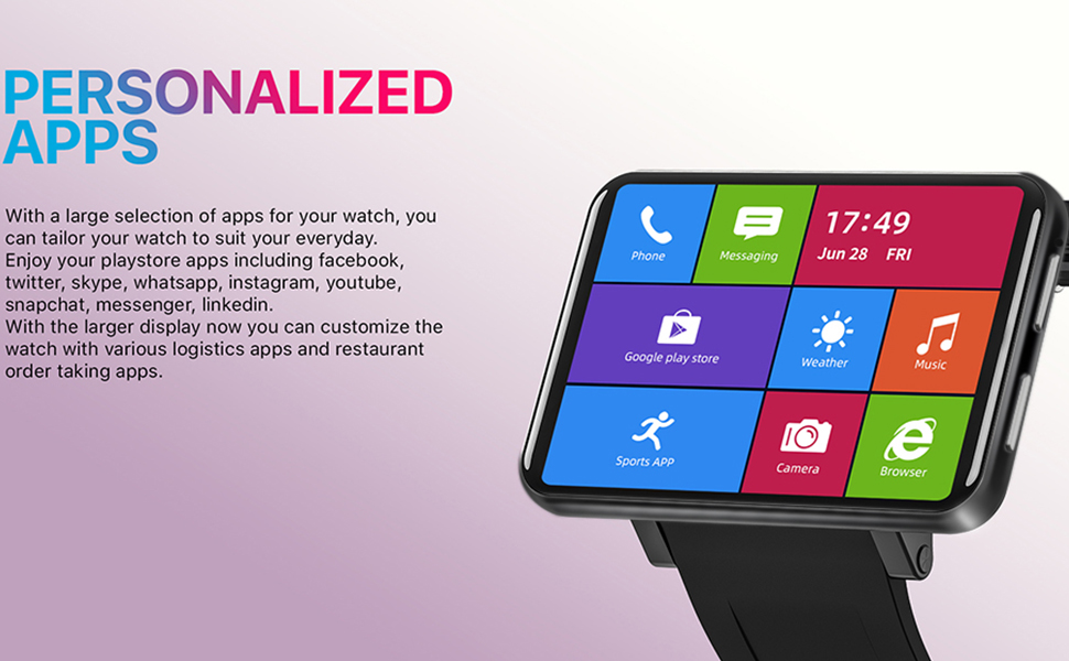 """6c64d8a7 b4d3 4731 ae3c 3f51fa46365a.  CR0,0,970,600 PT0 SX970 V1    - TICWRIS Andriod Smart Watch, GPS Android Smartwatch, 4G LTE with 2.86"""" Touch Screen, Face Unclok Phone Watch with 2880mAh Battery, IP67 Waterproof Sport Watch,3GB+32GB Andriod Watch for Men (Black)"""