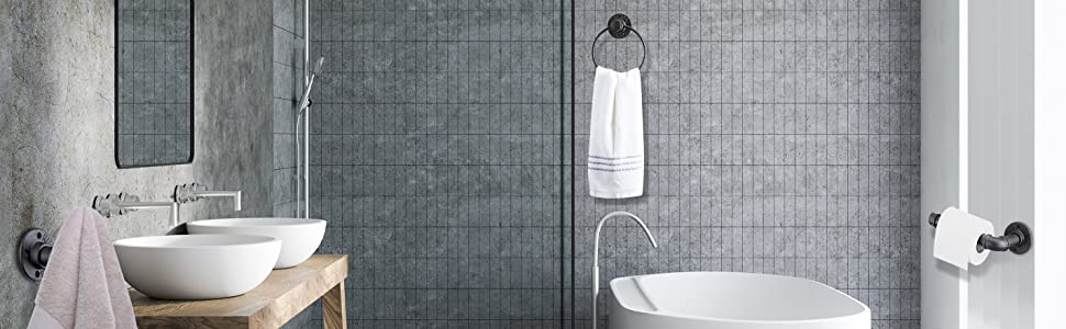 aeaa8e1e d205 4338 89a1 92c7aea5681c.  CR0,28,2850,881 PT0 SX970 V1    - Industrial Pipe Towel Rings Iron Old Towel Ring Holder for Bathroom, Black