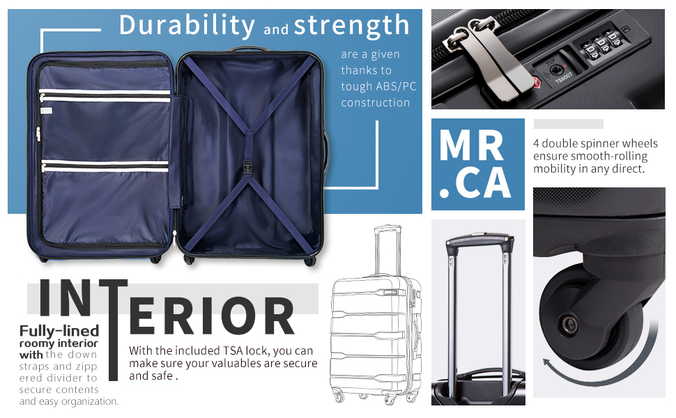 c189959c c3ba 4e19 a86e ab5ef7b41760.  CR0,0,970,600 PT0 SX970 V1    - Coolife Luggage Expandable 3 Piece Sets PC+ABS Spinner Suitcase Built-In TSA lock 20 inch 24 inch 28 inch