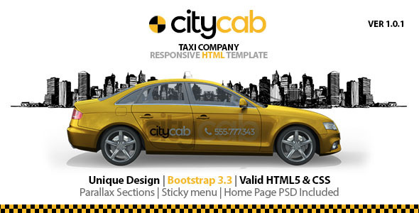citycab preview image 01.  large preview - CityCab - Taxi Company Responsive HTML Template