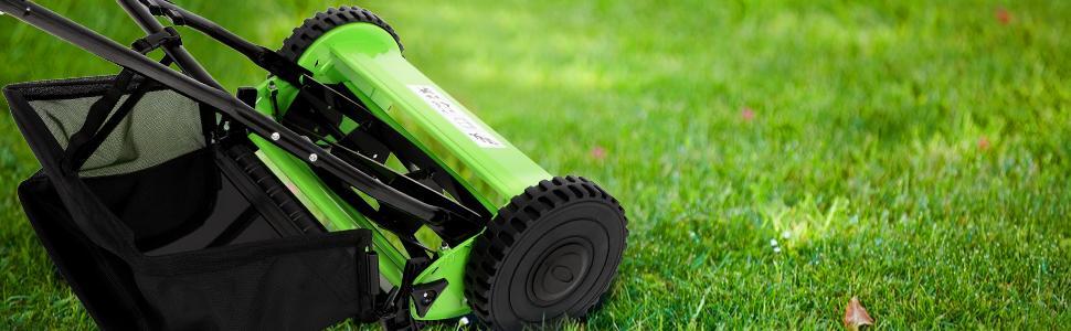 eb13298d 7548 4823 9529 af3f135d6092.  CR0,0,970,300 PT0 SX970 V1    - Olenyer 16-Inch Quiet Cut Push Reel Lawn Mower with 5-Blade Push Reel,Green