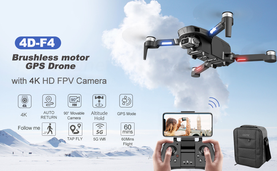 f63d0574 3b12 4459 81c0 1d56add3052f.  CR0,0,970,600 PT0 SX970 V1    - 4DRC F4 GPS Drone with 4K Camera for Adults,2-Axis gimbal Anti-shake Camera HD FPV Live Video,Brushless Motor RC Quadcopter, Auto Return,Follow Me,Waypoint Fly,Headless Mode,Carrying Case