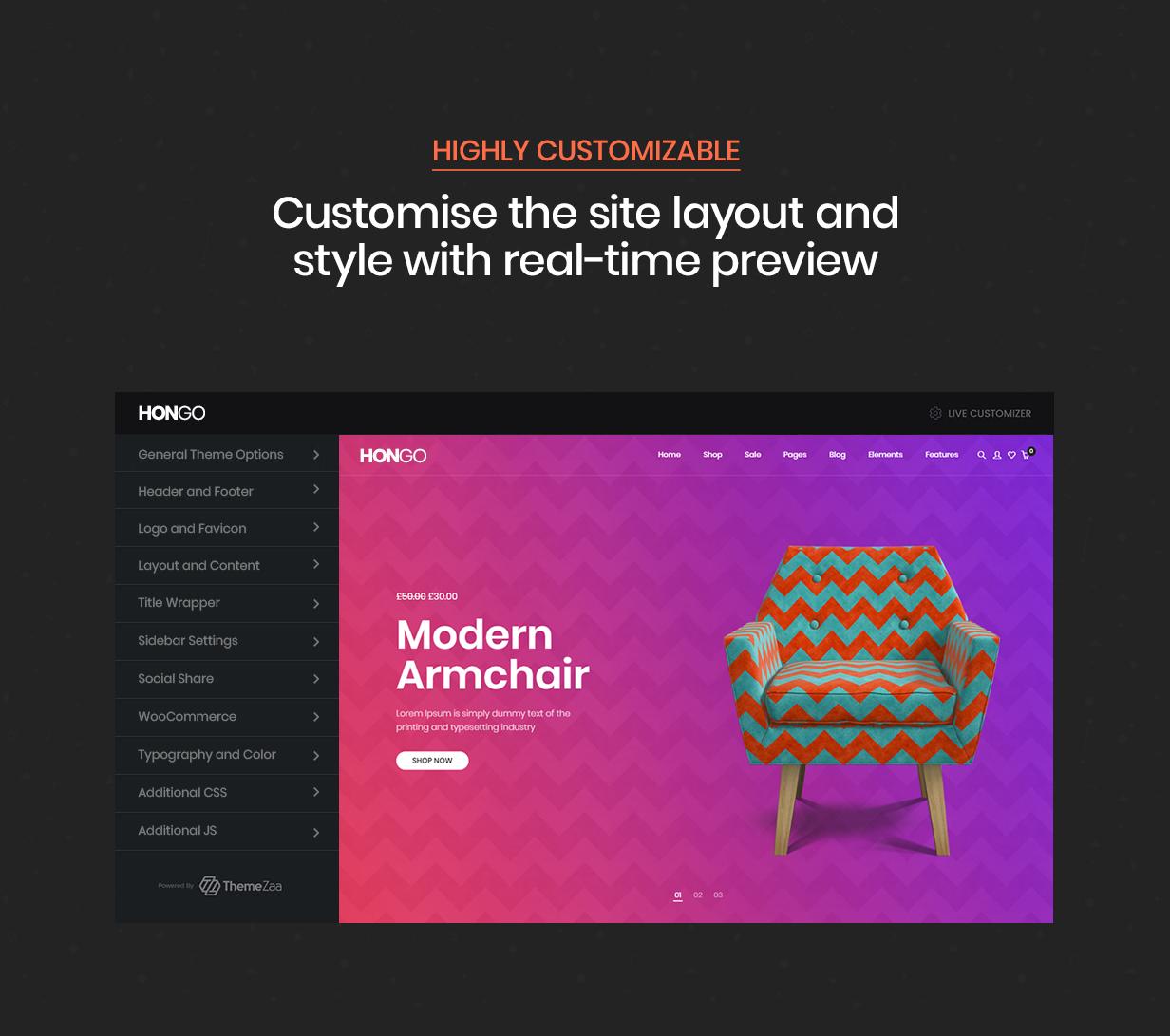 hongo theme customizer - Hongo - Modern & Multipurpose WooCommerce WordPress Theme
