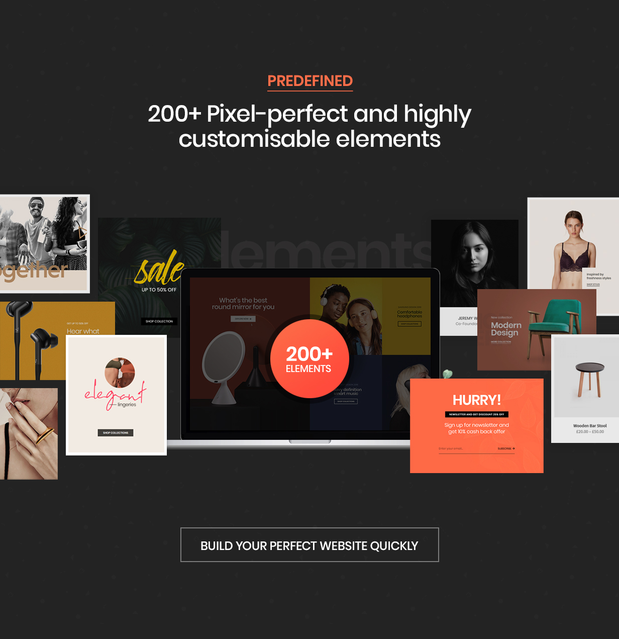 hongo theme elements new - Hongo - Modern & Multipurpose WooCommerce WordPress Theme