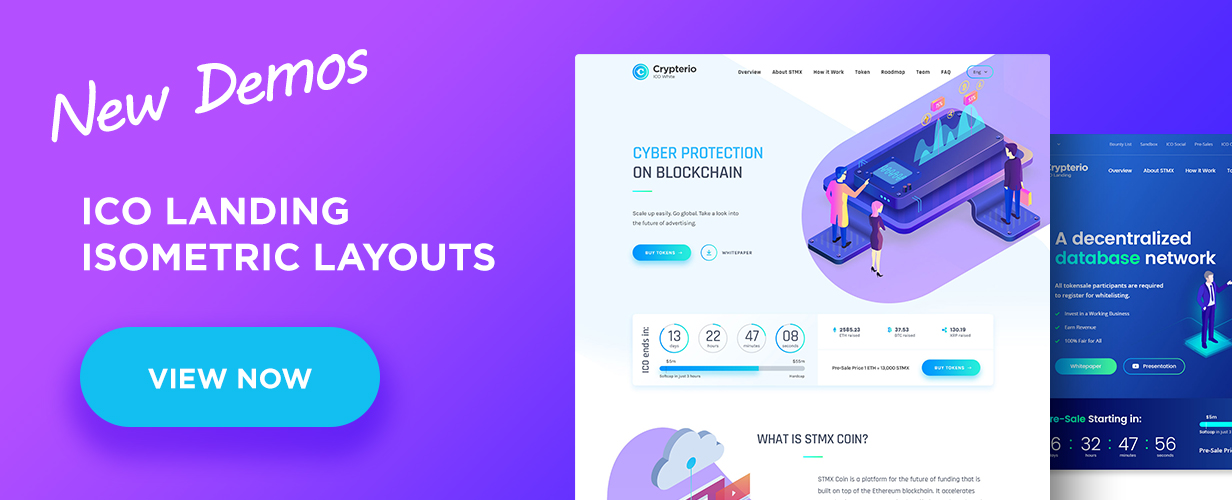 new demo banner - Crypterio - ICO Landing Page and Cryptocurrency WordPress Theme