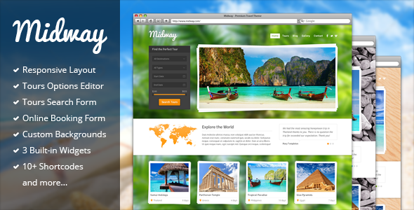 preview.  large preview - Midway - Responsive Travel WP Theme