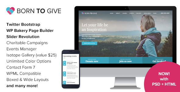 preview image1 large preview.  large preview - Born To Give - Charity Crowdfunding Responsive WordPress Theme