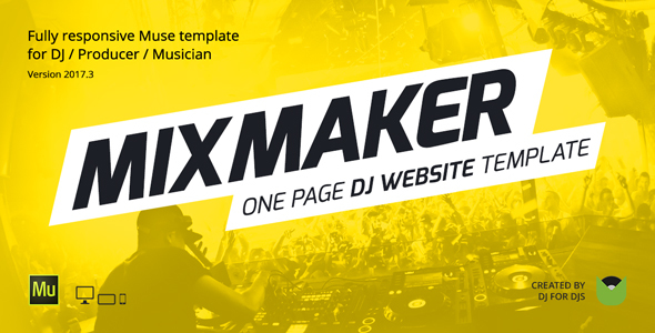 preview mixmaker v3 2017.  large preview - MixMaker - DJ / Producer / Music Band Website Responsive Muse Template