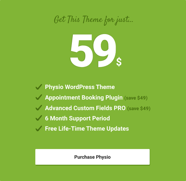 price table - Physio - Physical Therapy & Medical Clinic WP Theme