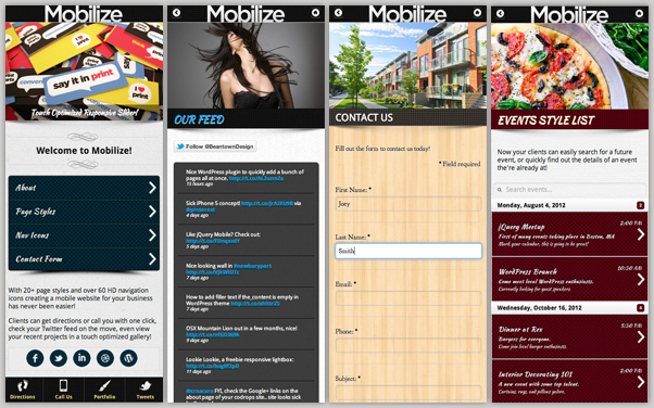 screens - Mobilize - Touch Optimized Mobile Template
