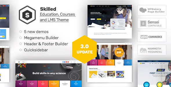 skilled preview.  large preview - Skilled | School Education Courses WordPress Theme