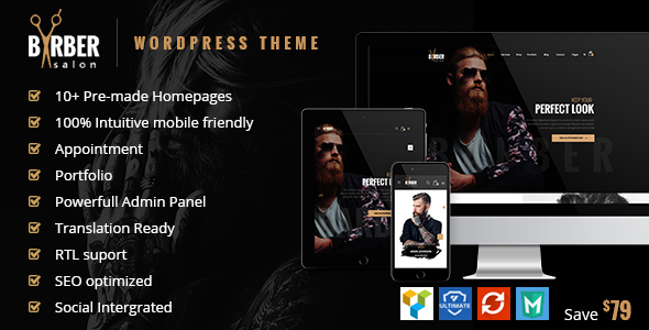 00 preview.  large preview - Barber - Hair, Tattoo & Beauty Salons WordPress Theme