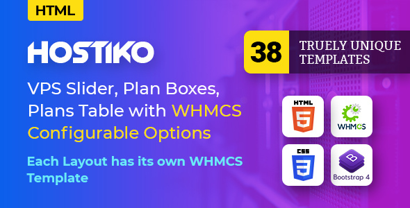 01 Preview.  large preview - Hostiko - Hosting HTML & WHMCS Template With Isometric Design