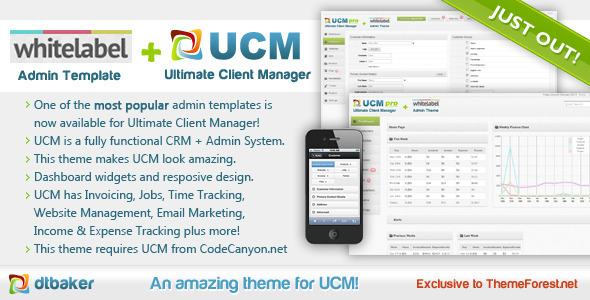 01 UCM CRM open source Customer Website and Project management whitelabel theme.  large preview - UCM Theme: White Label