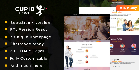 01 theme preview.  large preview - CUPID LOVE - Dating Website HTML5 Template