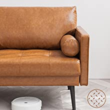 13cfc53c 63db 4f9f a3cd ab2ce180a0bb.  CR0,0,440,440 PT0 SX220 V1    - Vonanda Faux Leather Sofa Couch, Mid-Century 73 Inch 3-Seater Sofa with 2 Bolster Pillows and Hand-Stitched Comfort Cushion for Compact Living Room, Caramel