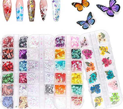 1630729460 51NSRxLYRvL 500x445 - 48 Colors Dried Flowers Nail Art Butterfly Glitter Flake 3D Holographic, Tufusiur Dry Flower Nails Sequins Acrylic Supplies Face Body Gifts for Decoration Accessories & DIY Crafting