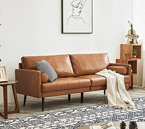 1630946033 51AZ9 ZlL6L. AC  500x445 - Vonanda Faux Leather Sofa Couch, Mid-Century 73 Inch 3-Seater Sofa with 2 Bolster Pillows and Hand-Stitched Comfort Cushion for Compact Living Room, Caramel