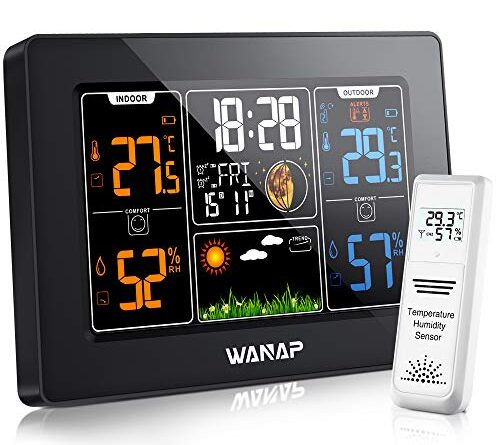 1631076210 51I4ZkKp2DL 500x445 - Wanap Weather Station, Wireless Weather Station Indoor Outdoor Thermometer Temperature and Humidity Weather, Digital Colorful Display Multifunctional Weather Forecast Hygrometer Barometer, Radio Clock
