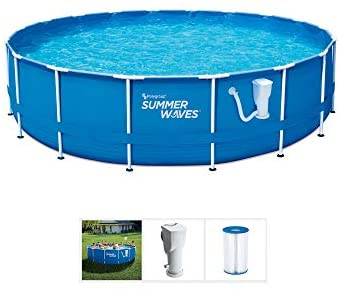 1631552781 41k99jh9Y4L. AC  - Summer Waves Active 10 Foot x 30 Inch Metal Frame Outdoor Backyard Above Ground Swimming Pool Set with Filter Pump, Type I Cartridge, and Repair Patch