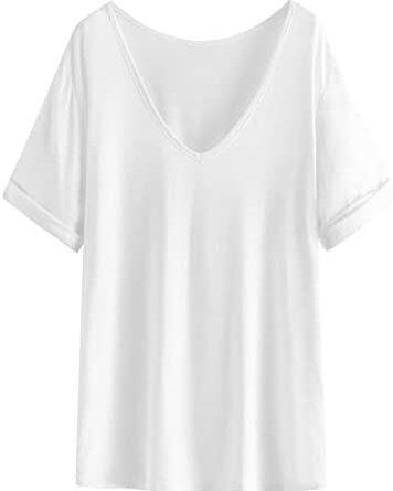1631682758 21MzDMvQDgL. AC  356x445 - SheIn Women's Summer Short Sleeve Loose Casual Tee T-Shirt