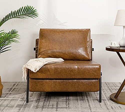 1631986488 51cwdVdMOzL. AC  500x445 - Vonanda Sofa Bed, Faux Leather Sleeper Sofa, Convertible Chair Bed with Hidden Legs and Sturdy Frame, Easy Folding Sleeper Chair for Compact Living Space, Caramel