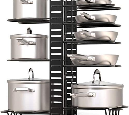 1632159892 519E1y eZqL. AC  500x445 - GeekDigg Pot Rack Organizer under Cabinet, 3 DIY Methods, Height and Position are Adjustable 8+ Pots Lid Holder, Black Metal Kitchen Pantry Cookware Organizer (Upgraded Version)