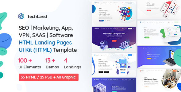 1632212650 402 00 main preview.  large preview - TechLand - SEO|Marketing, SAAS|Software, App, VPN Landing pages + UI Kit HTML Template