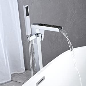 3111d6ff ab9e 493d a726 5dc1db5e8808.  CR0,0,1500,1500 PT0 SX300 V1    - Wowkk Freestanding Tub Filler Waterfall Bathtub Faucet Chrome Floor Mount Brass Single Handle Bathroom Faucets with Hand Shower