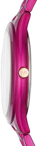 312A0RM9+3L. AC  - Michael Kors Women's Slim Runway Three-Hand Stainless Steel Quartz Watch