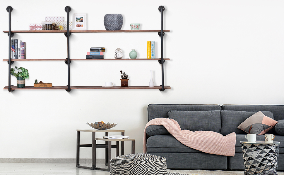 34f8db6c a63f 4168 a8f0 f7dbf56bfe4b.  CR0,0,970,600 PT0 SX970 V1    - Pynsseu Industrial Iron Pipe Shelving Brackets Unit, Farmhouse Wall Mounted Pipe Shelves for Kitchen Bathroom, DIY Bookshelf Living Room Storage, 3Pack of 4 Tier