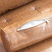 35dc8834 8ca9 4663 b266 c3f26c769a22.  CR0,0,440,440 PT0 SX220 V1    - Vonanda Faux Leather Sofa Couch, Mid-Century 73 Inch 3-Seater Sofa with 2 Bolster Pillows and Hand-Stitched Comfort Cushion for Compact Living Room, Caramel