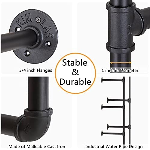 4112QGaLFDL. AC  - Pynsseu Industrial Iron Pipe Shelving Brackets Unit, Farmhouse Wall Mounted Pipe Shelves for Kitchen Bathroom, DIY Bookshelf Living Room Storage, 3Pack of 4 Tier