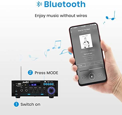 4112utGW8EL. AC  - Moukey Bluetooth 5.0 Home Audio Power Stereo Amplifier for Speakers - Portable 2 Channel Stereo Desktop Amp Receiver with FM Radio, MP3/USB/SD Readers, 2 Mic Input, Remote (Peak Power 100W)