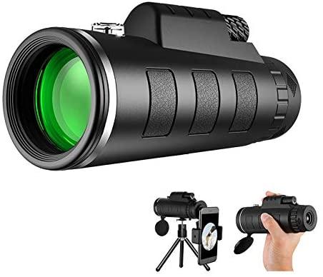 412AOzimvPL. AC  - Monocular Telescope, 12X50 High Definition BAK4 Prism Monocular with Smartphone Holder & Tripod for Hunting Hiking Traveling Bird Watching